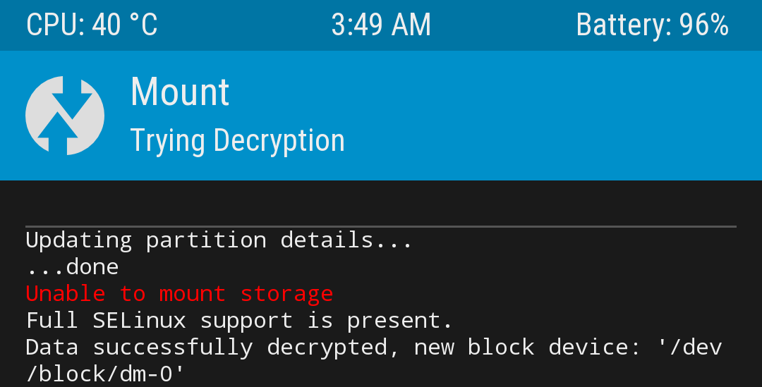 Issues decrypting data in TWRP on Fairphone Open OS - FP2